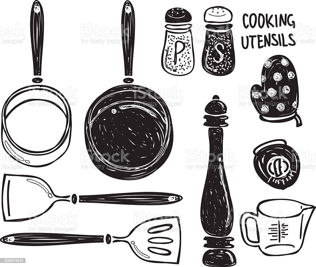 Set of cooking utensil doodle vector art illustration