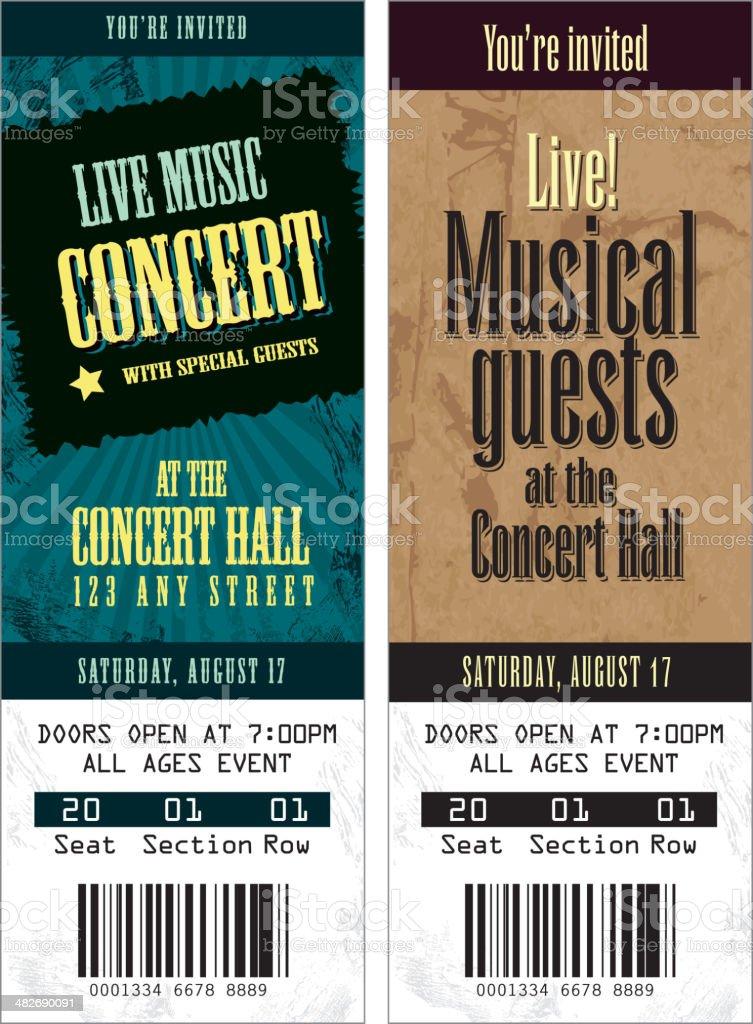 Set of cool concert tickets template vector art illustration