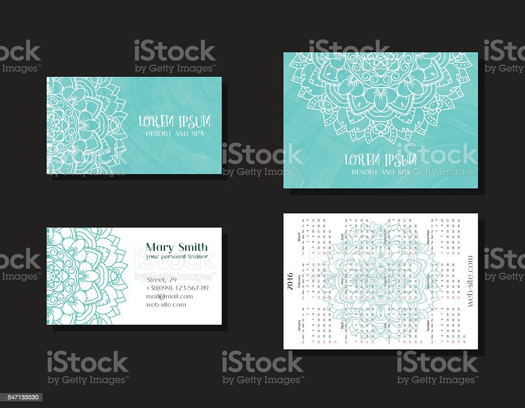 Set of corporate business cards and calendars vector art illustration