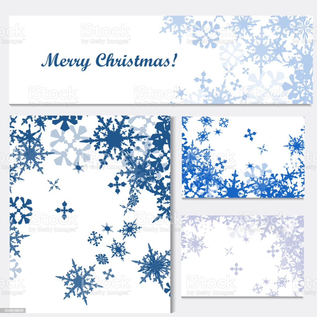 Set of corporate Christmas identity templates with blue snowflak vector art illustration