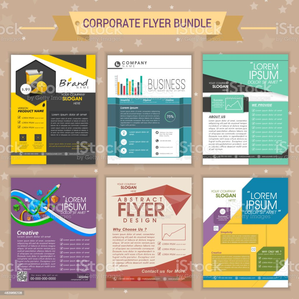 Set of corporate flyers. vector art illustration