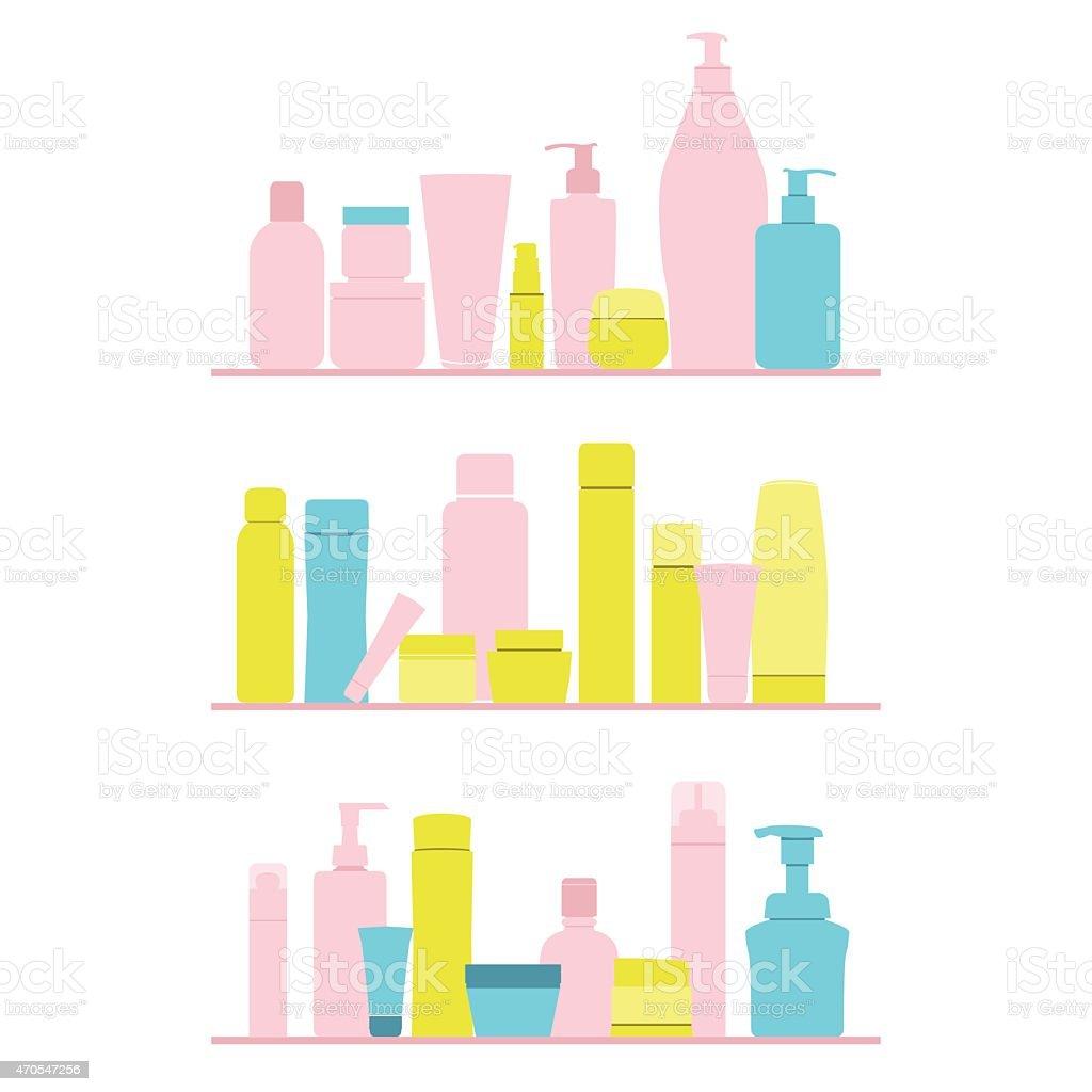 set of cosmetic bottles on shelf vector art illustration