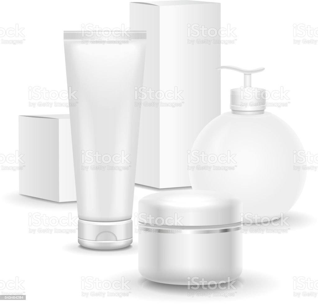 Set of cosmetic products on a white background. package collection vector art illustration