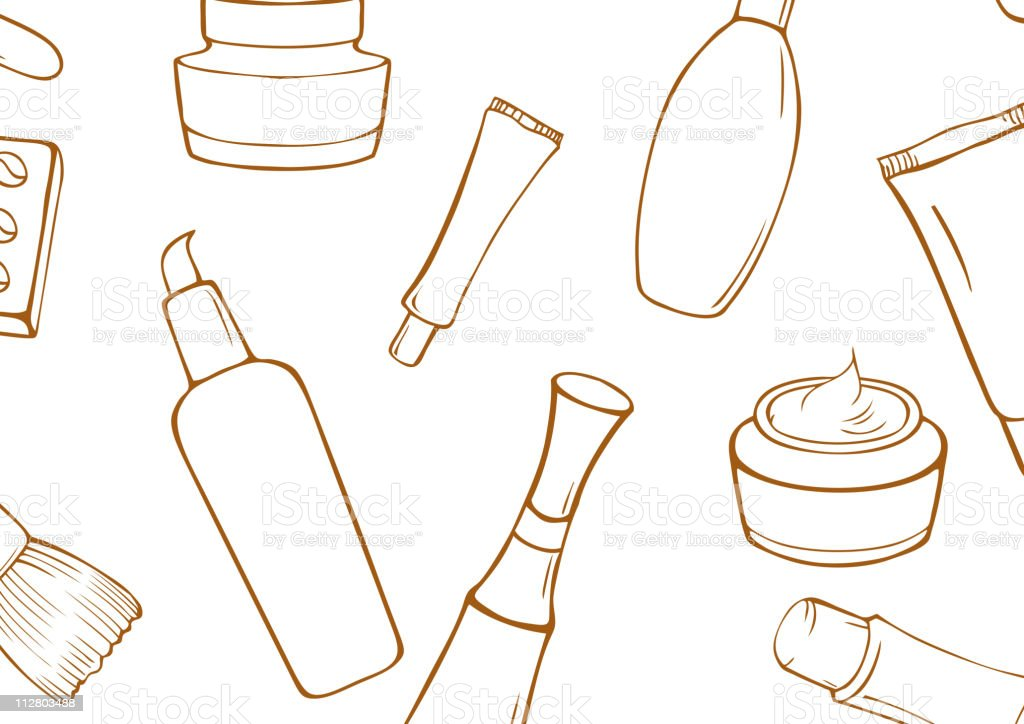 Set of cosmetics and toiletries royalty-free stock vector art