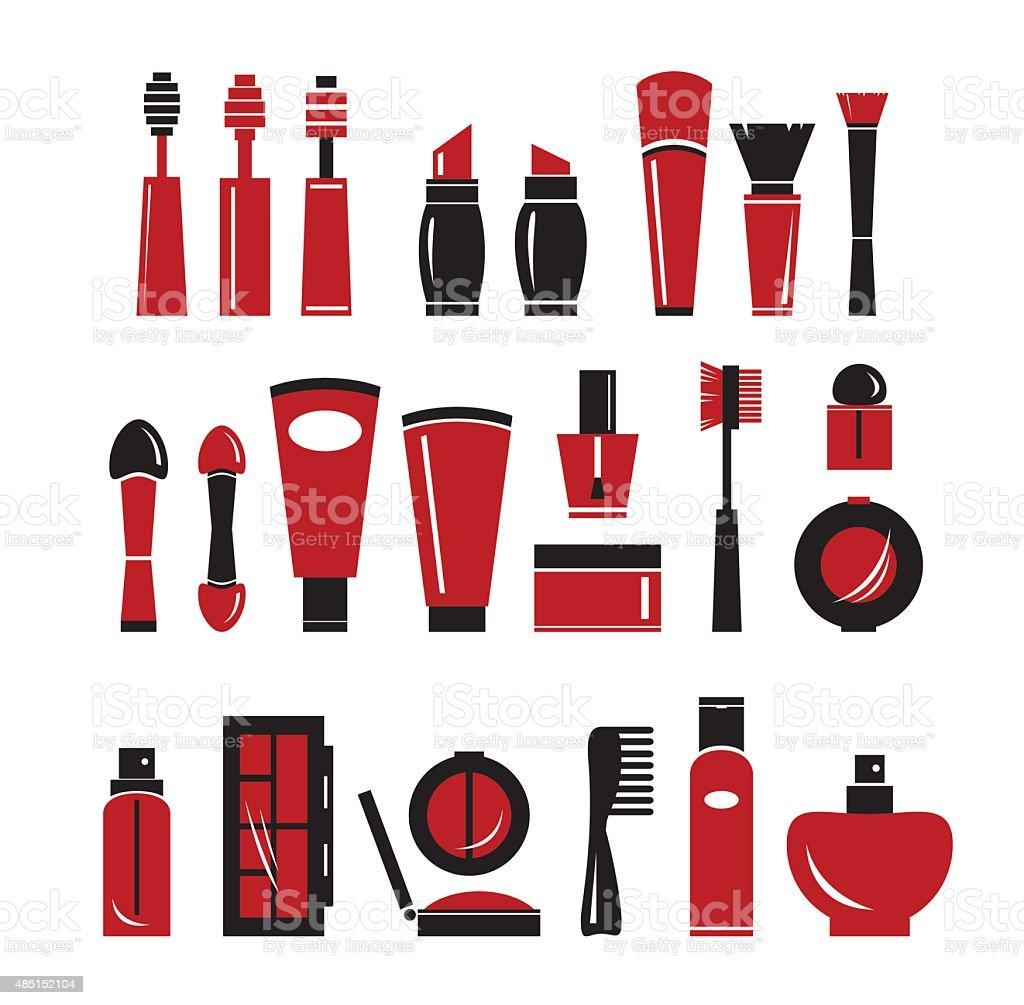 Set of cosmetics icons. vector art illustration