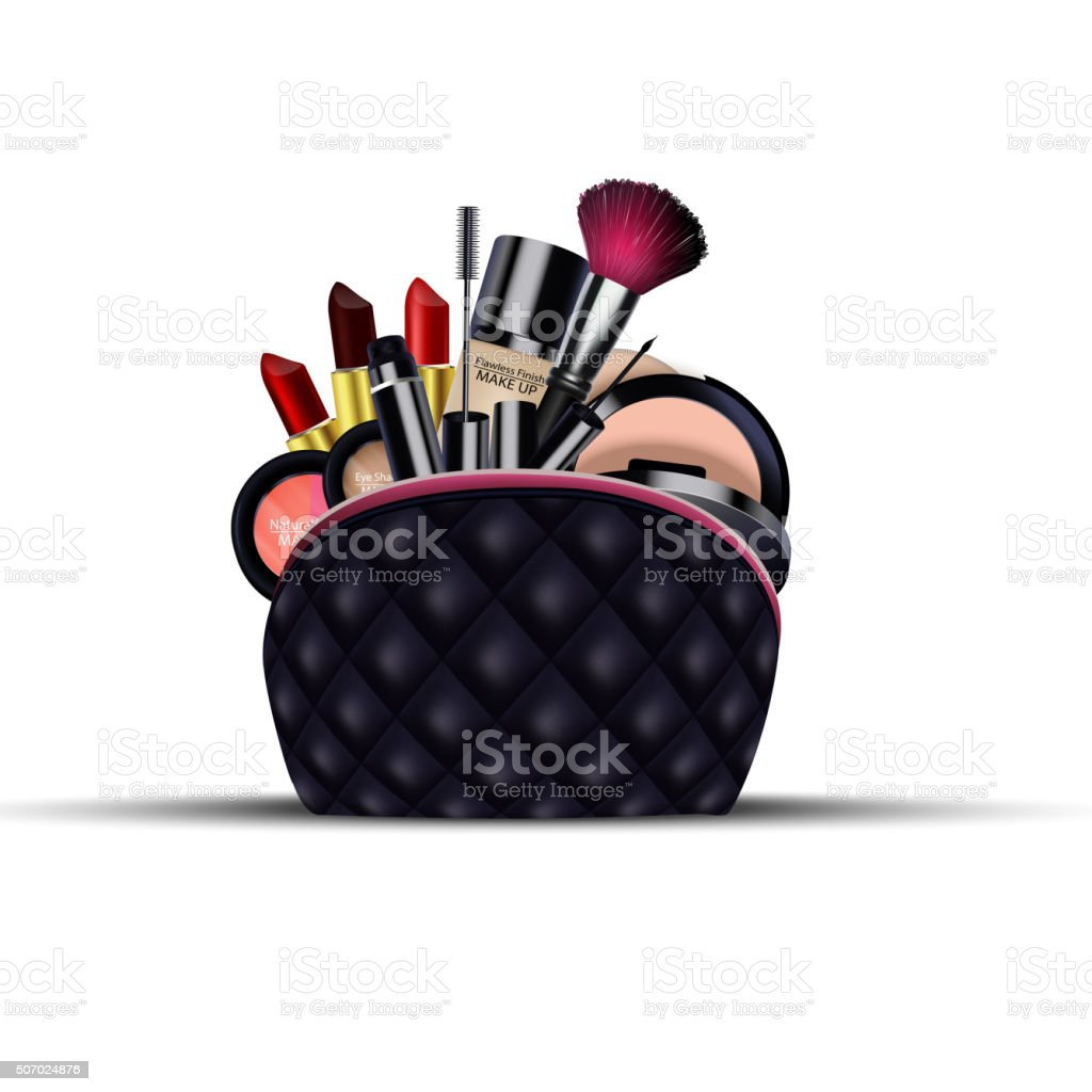 Set of cosmetics with black bag on isolated background vector art illustration