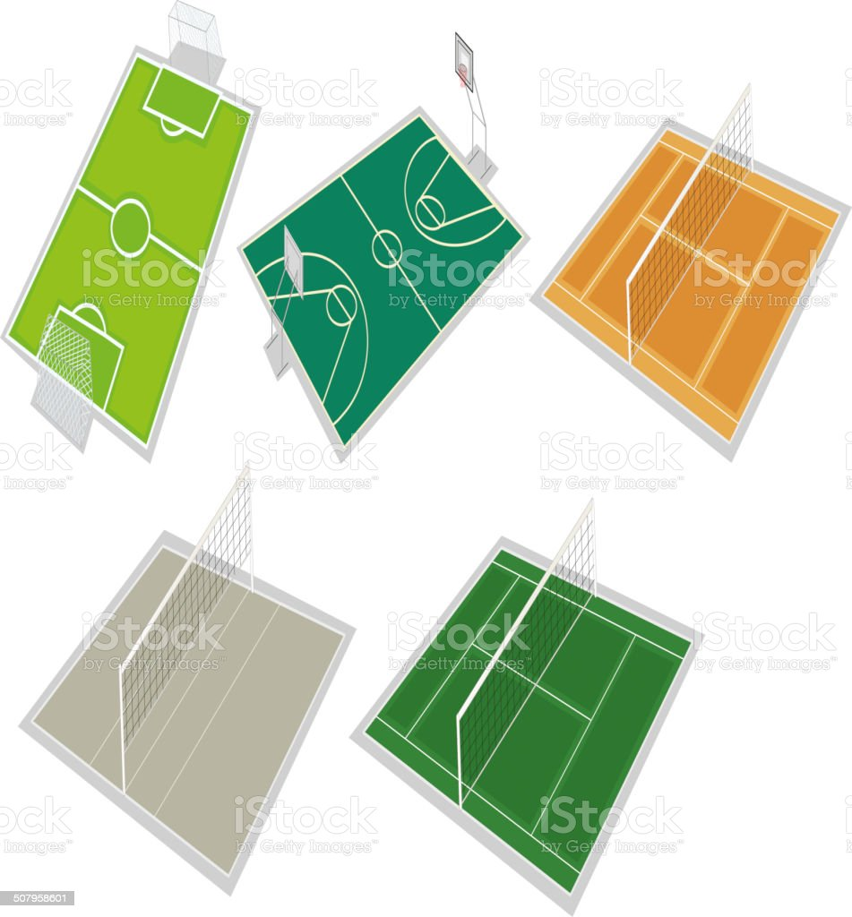 Set of courts vector art illustration