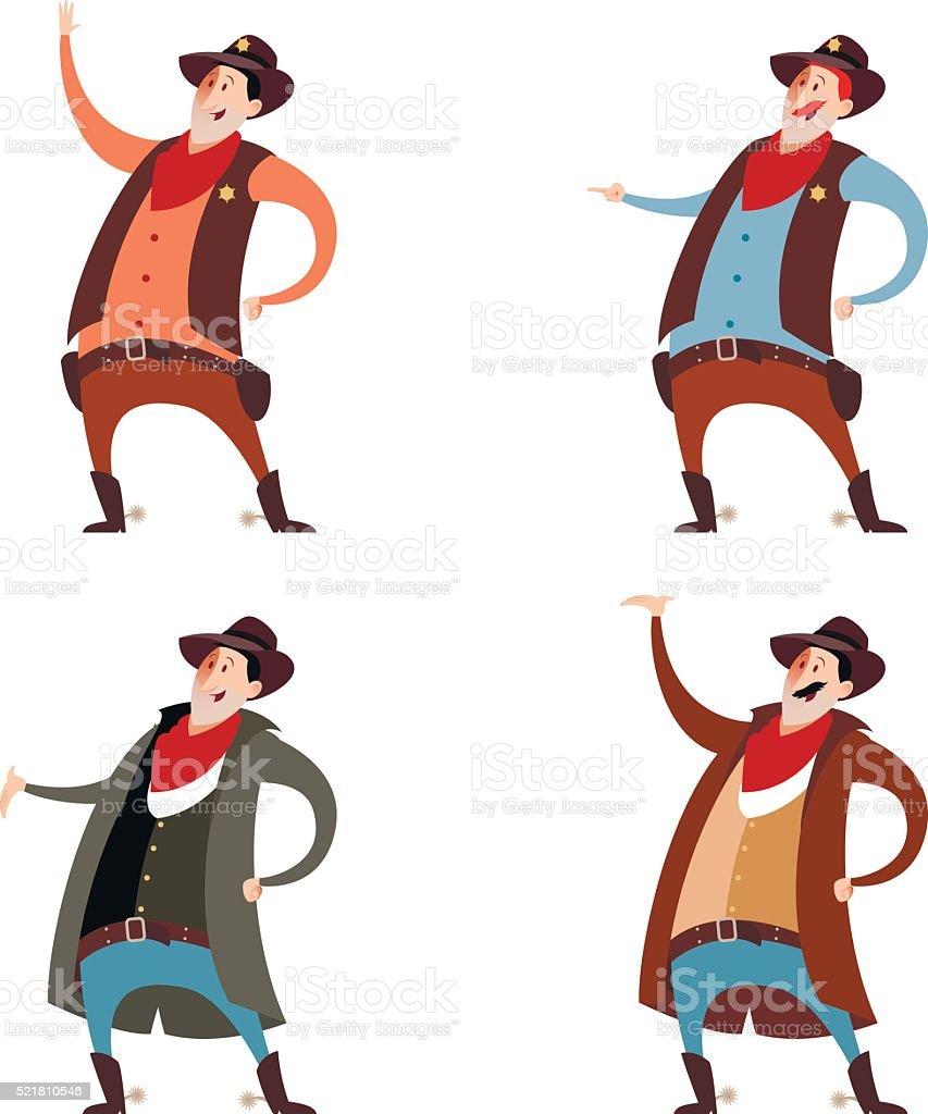 Set of cowboys vector art illustration