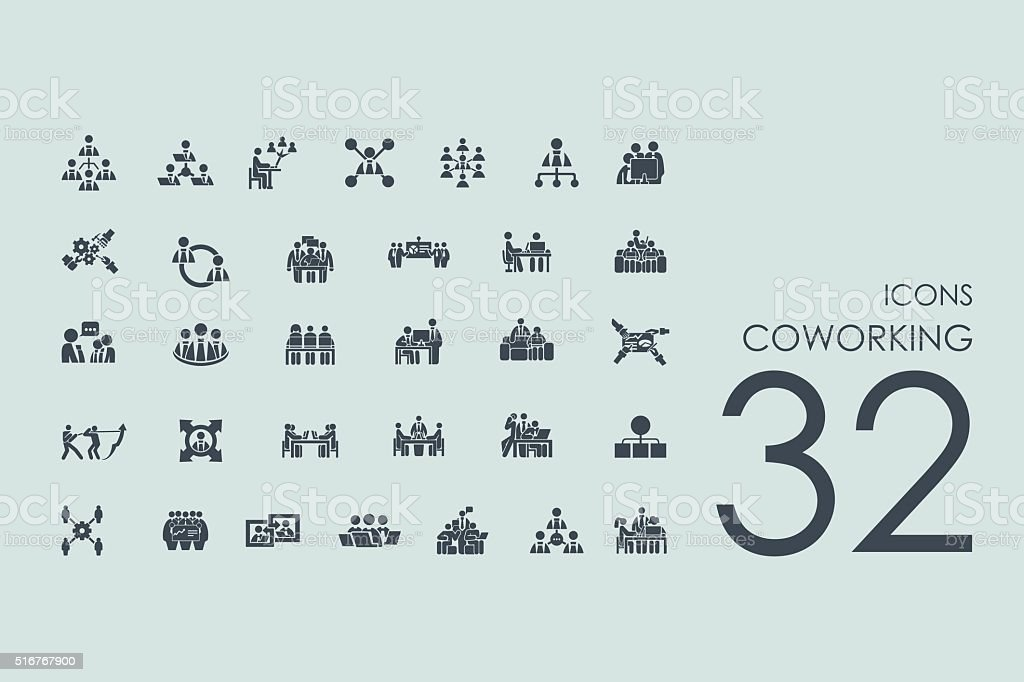Set of coworking icons vector art illustration