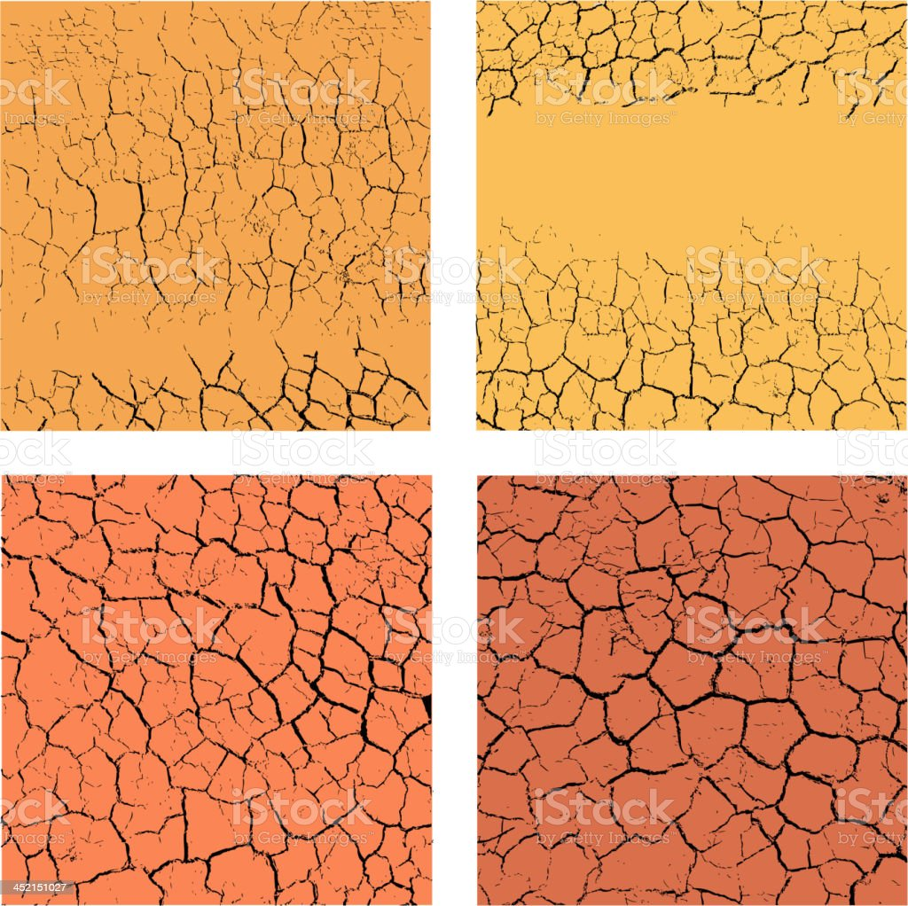 Set of cracks backgrounds vector art illustration