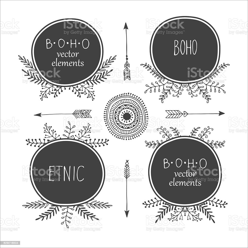 Set of creative Boho style Frames mady by Ethnic. Arrows royalty-free stock vector art