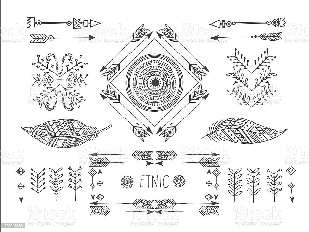 Set of creative Boho style Frames mady by Ethnic. royalty-free stock vector art