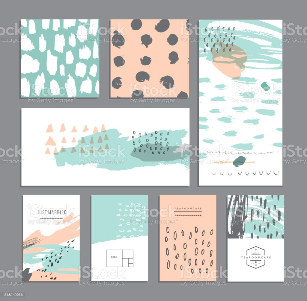 Set of creative cards. Hand Drawn textures made with ink. vector art illustration
