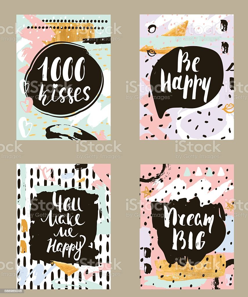 Set of creative invitation card with hand drawn shapes textures. vector art illustration