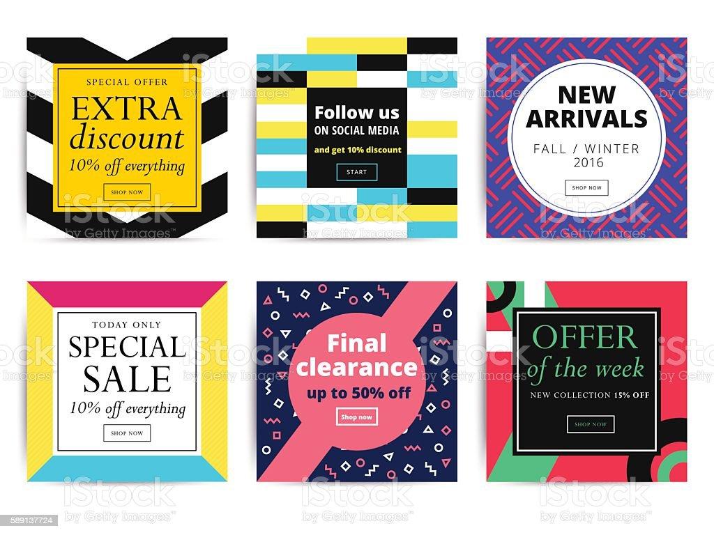 Set of creative social media banners design for online shop vector art illustration