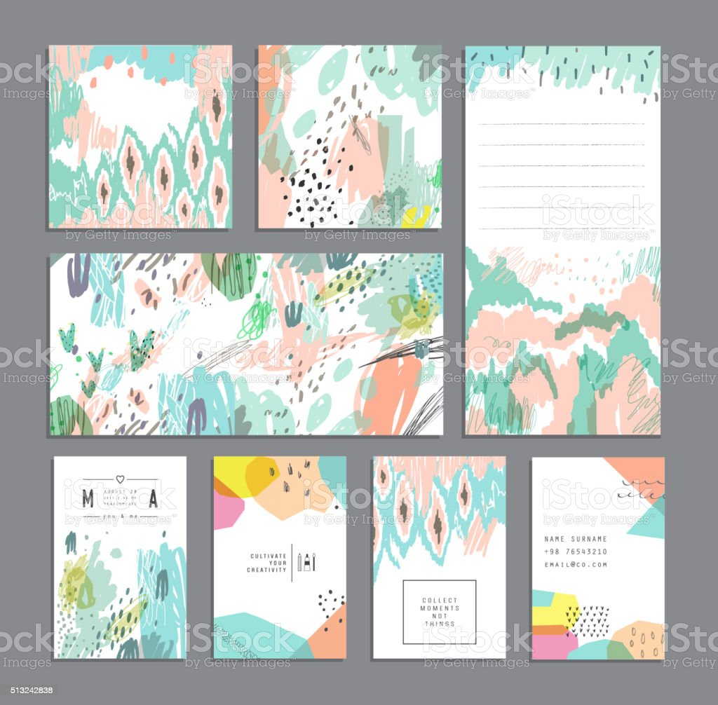 Set of creative universal cards and banners. vector art illustration