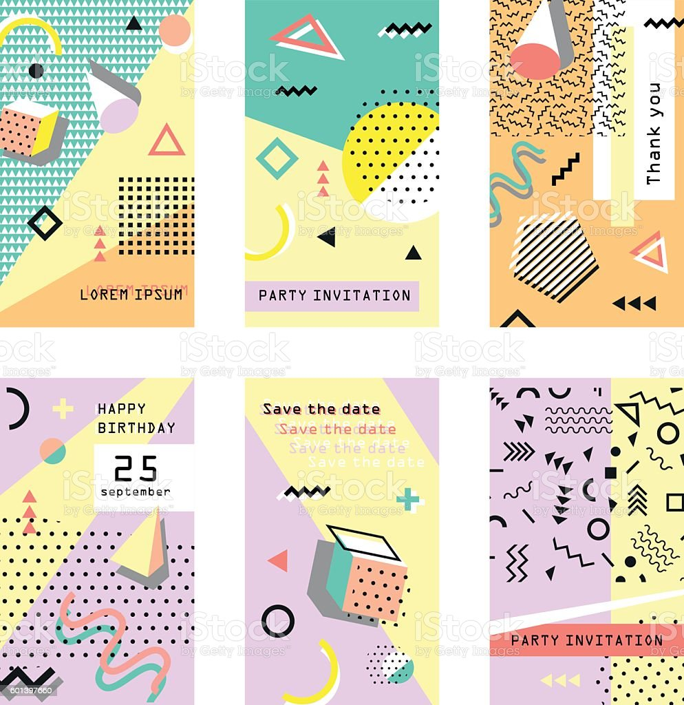 Set of creative universal cards. Memphis. Trendy geometric elements. Wedding vector art illustration