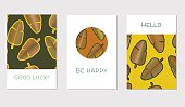 Set of creative universal floral cards in tropical style