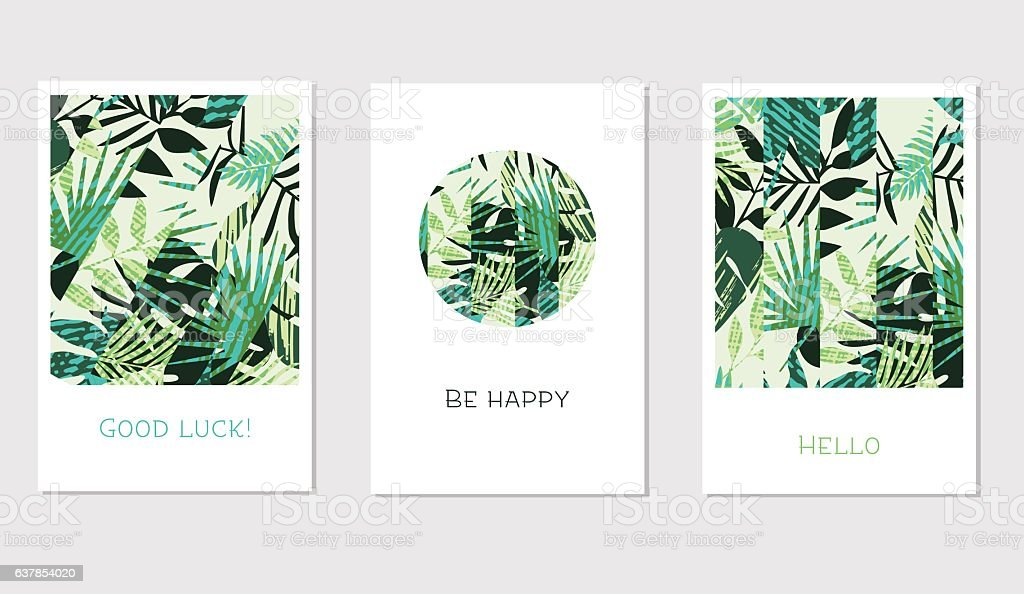 Set of creative universal floral cards in tropical style vector art illustration