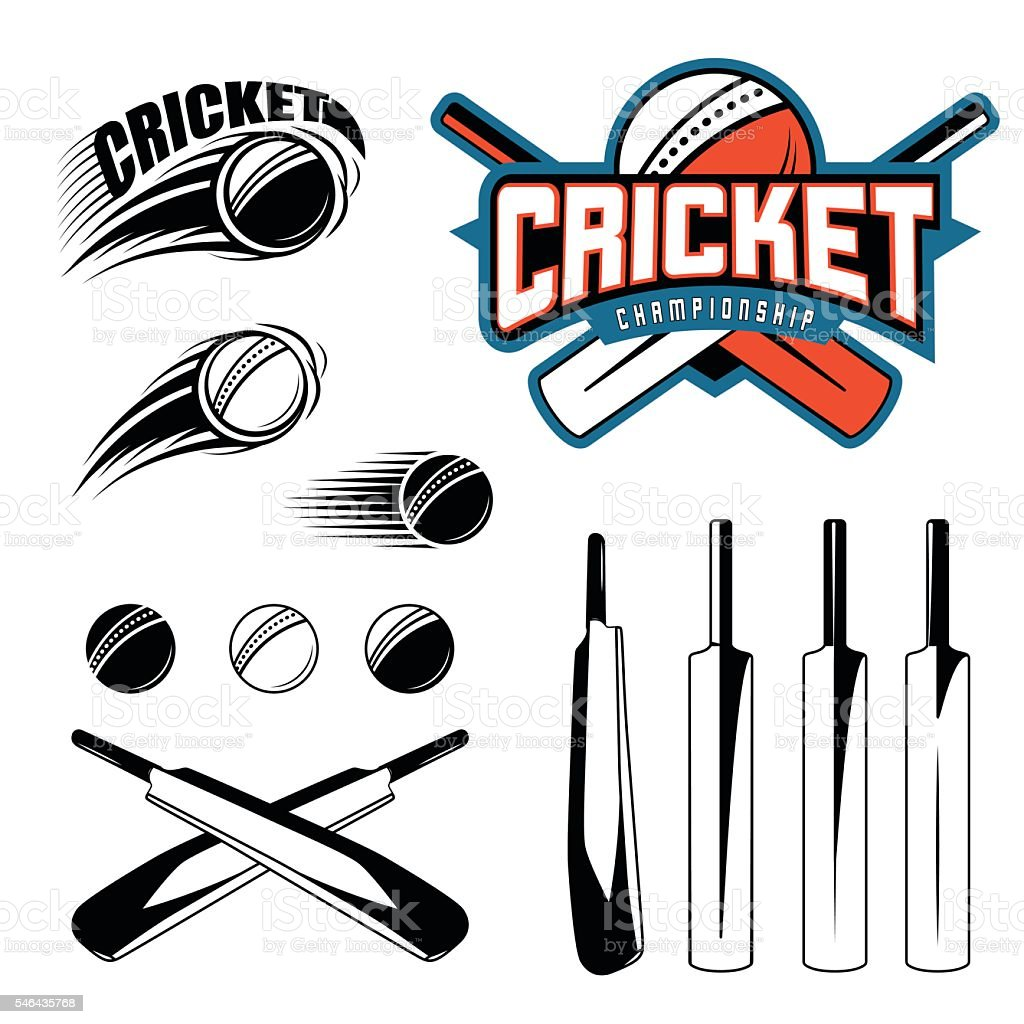 Set of cricket sports template logo elements - ball, bat. Use as...
