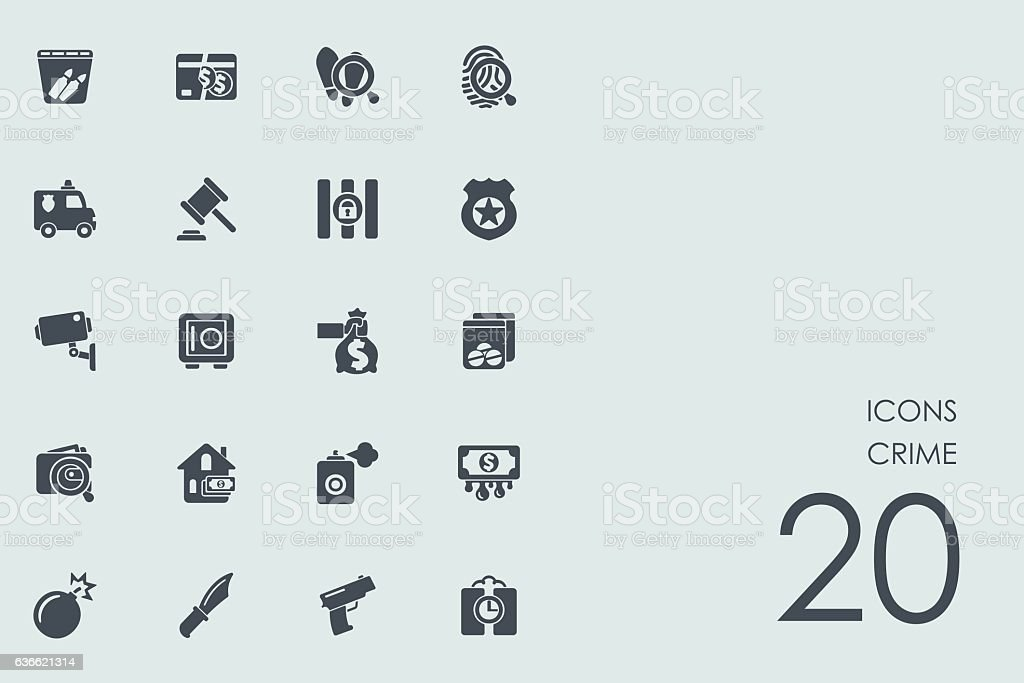 Set of crime icons vector art illustration