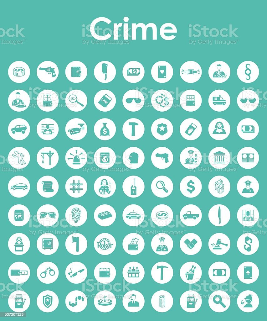 Set of crime simple icons vector art illustration