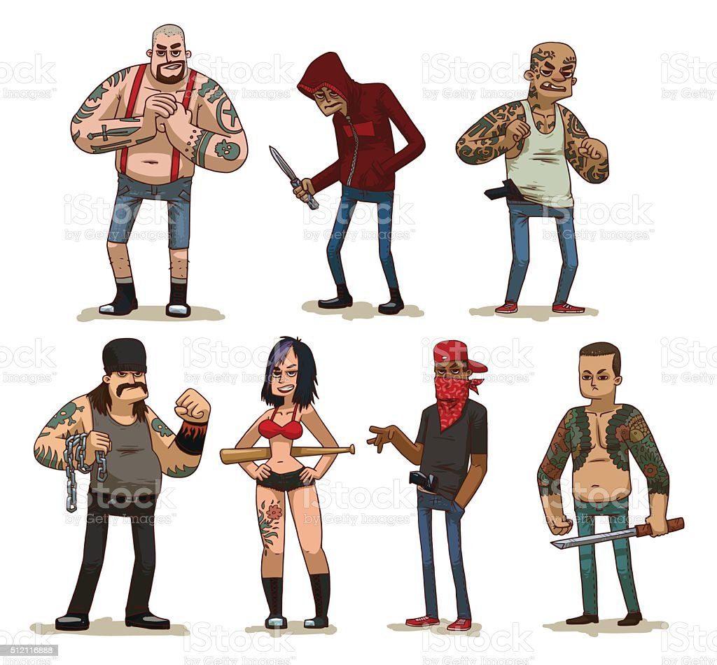 Set of criminals vector art illustration