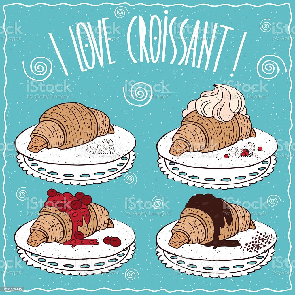 Set of croissants in handmade cartoon style vector art illustration
