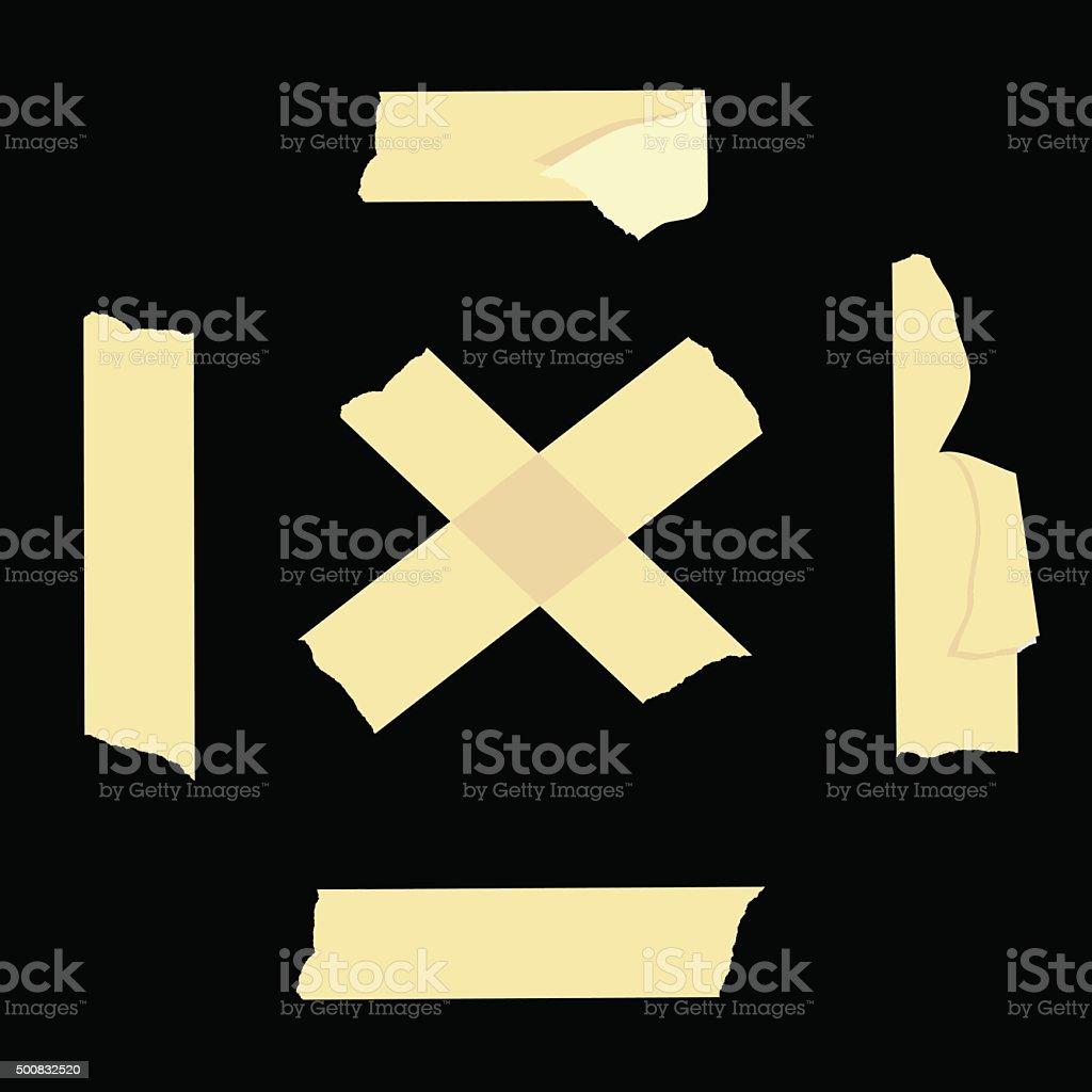 Set of cross adhesive tape vector art illustration