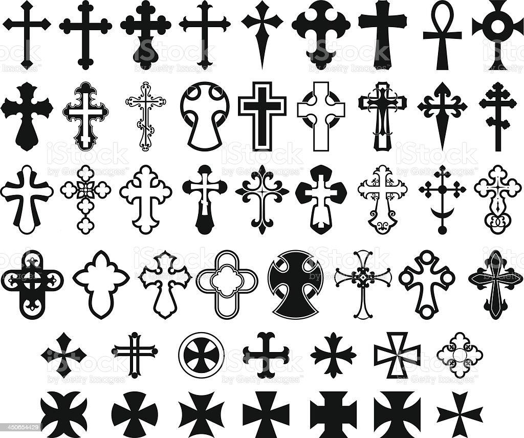 Set of crosses. vector art illustration