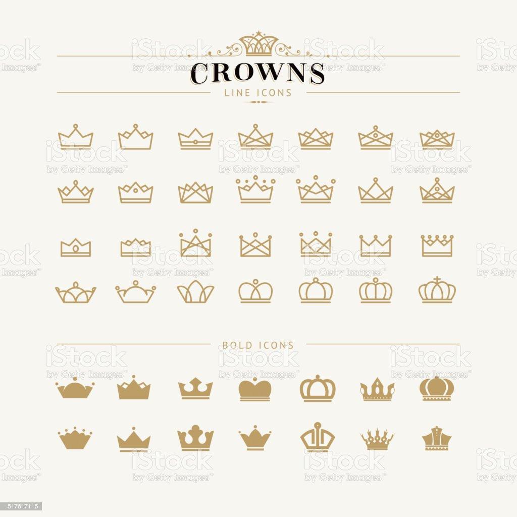 Corona conjunto de iconos de línea y audaz illustracion libre de derechos libre de derechos