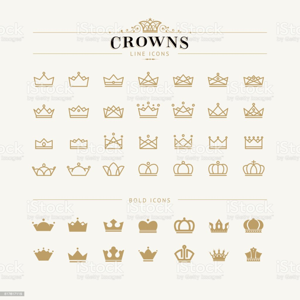 Set of crown line and bold icons vector art illustration