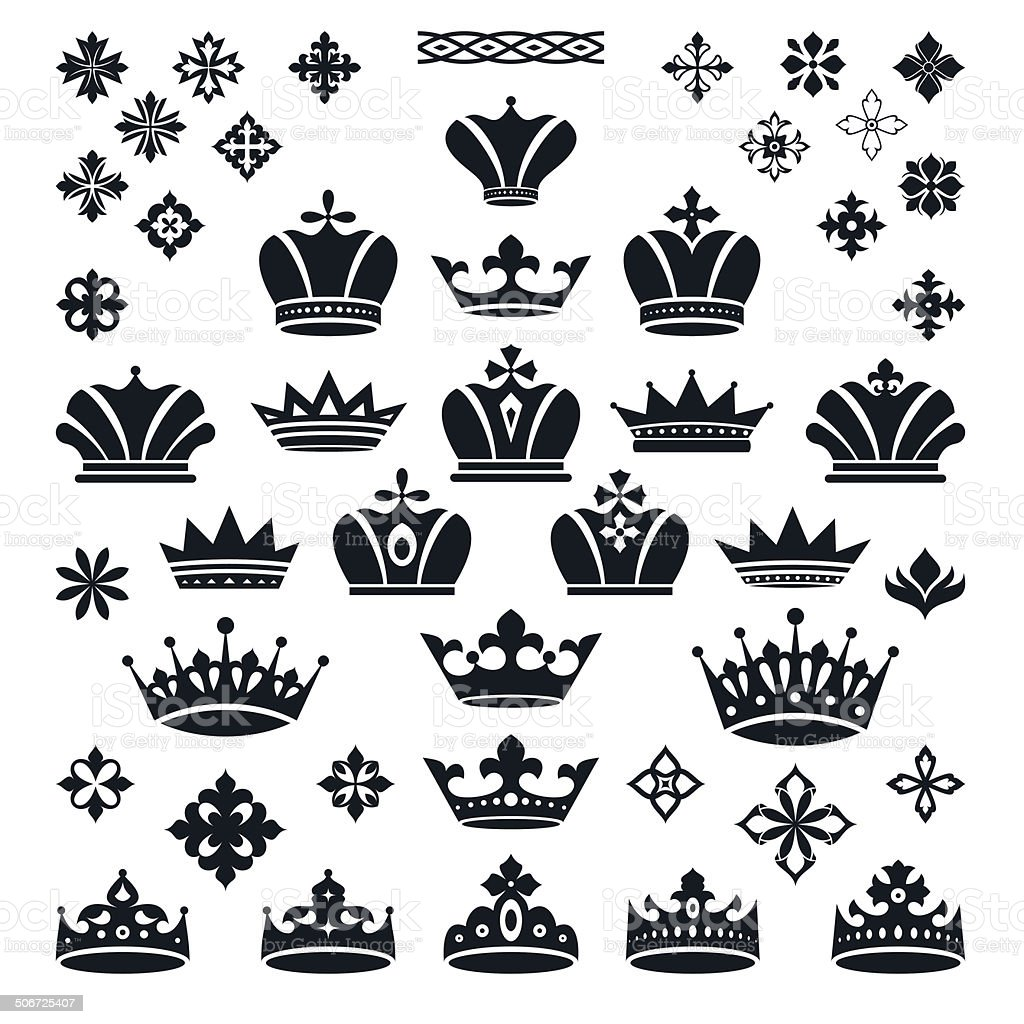 set of crowns and decorative elements vector art illustration