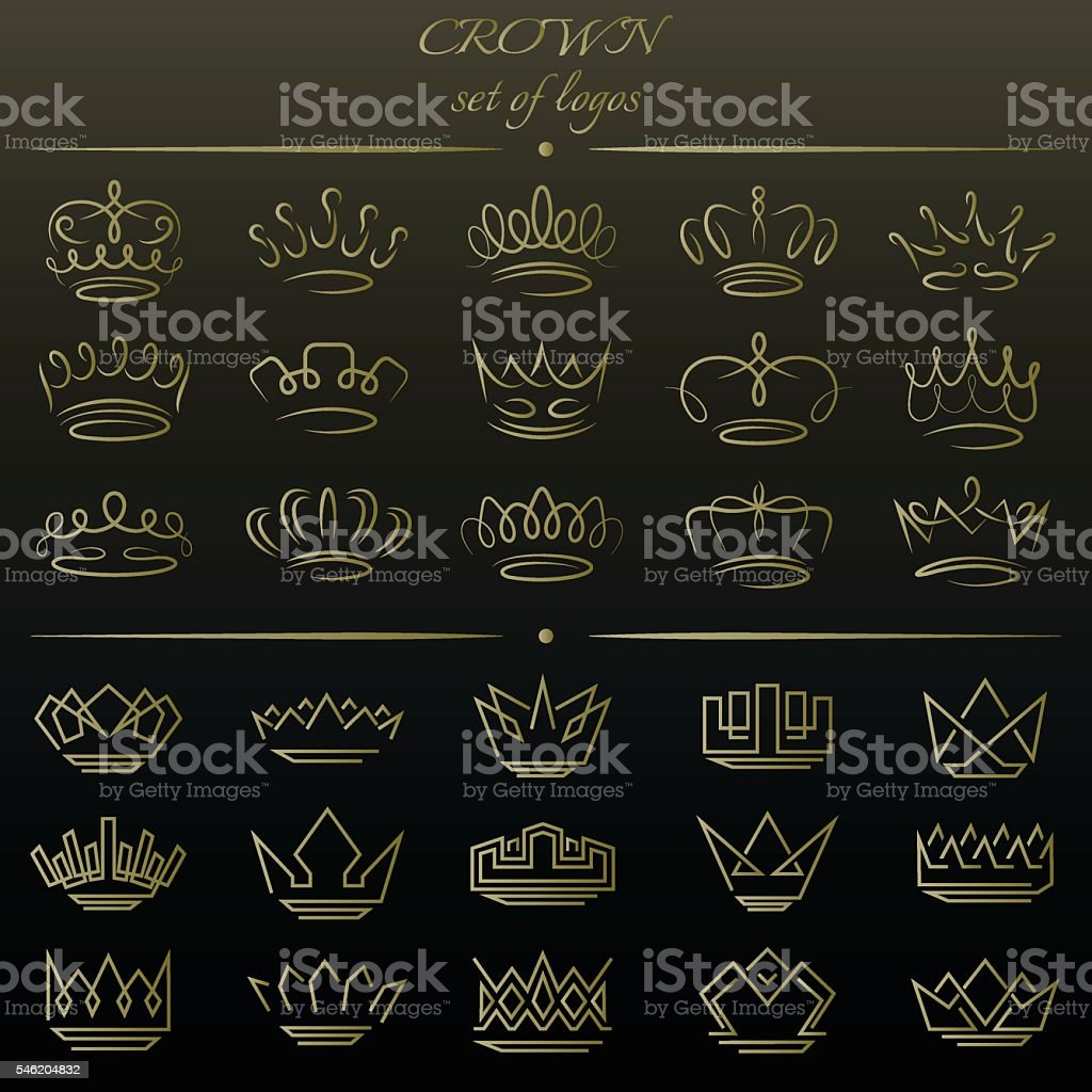 Set of crowns in different styles. vector art illustration