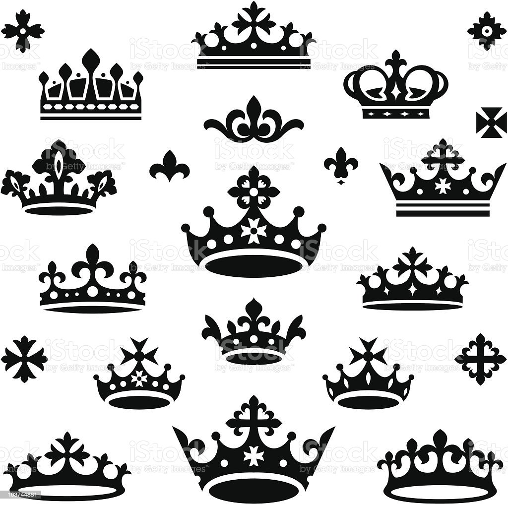 set of crowns vector art illustration