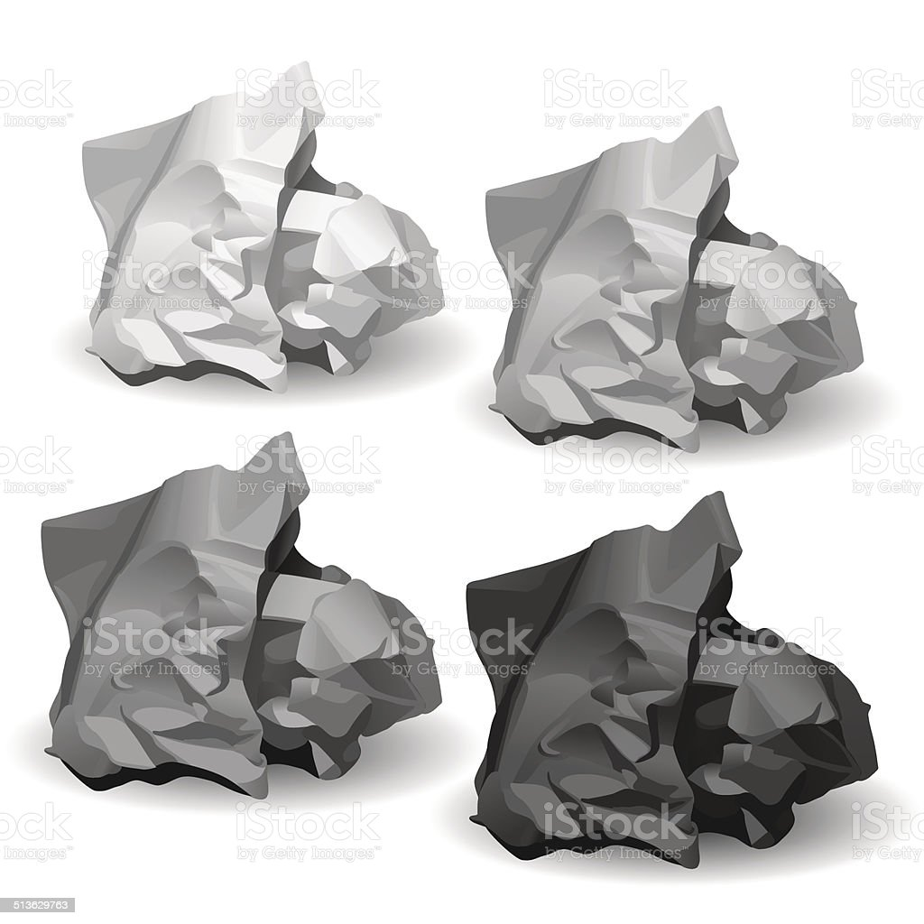 Set Of Crumpled Paper Balls vector art illustration
