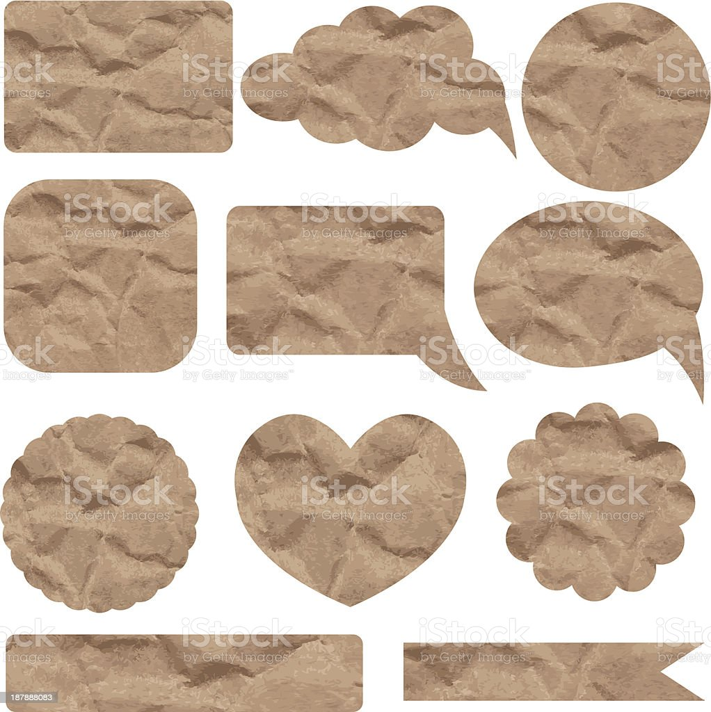 Set of crumpled paper stickers royalty-free stock vector art