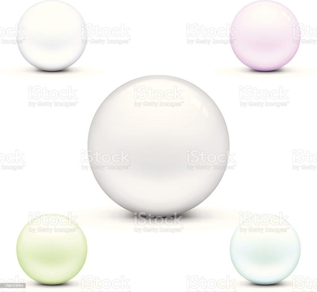 Set of Crystal Balls vector art illustration