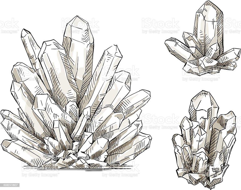 set of crystals drawings. Vector illustration. vector art illustration