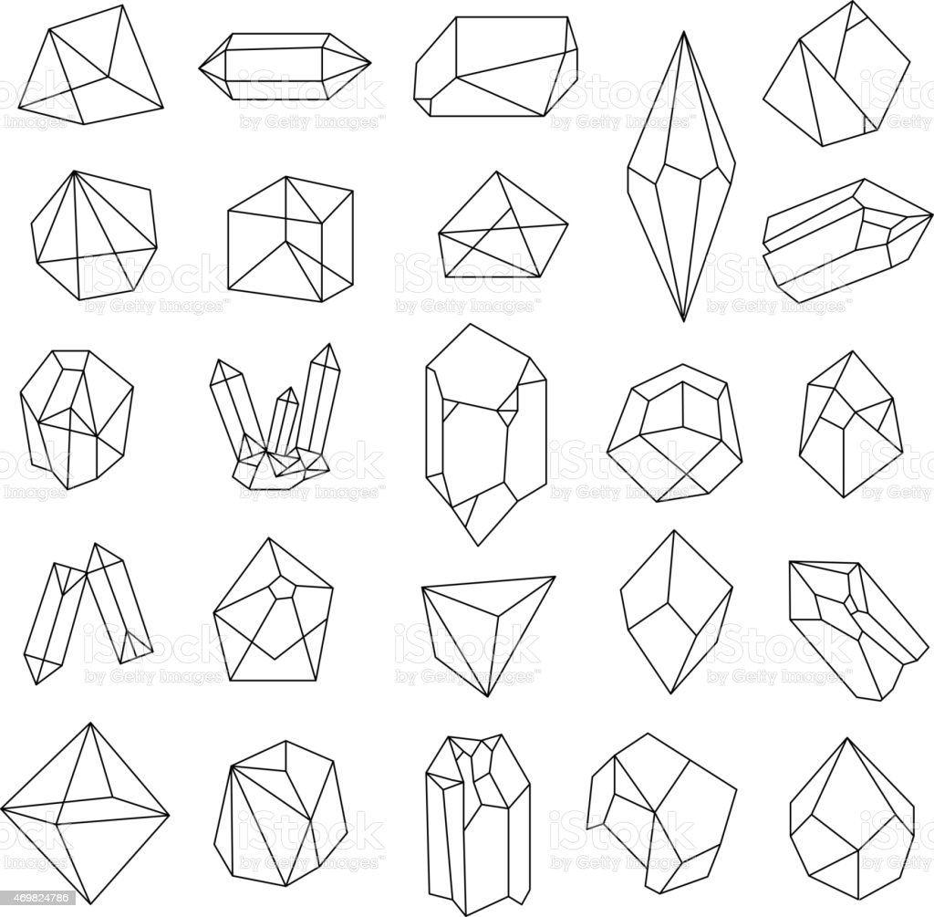 Set of crystals. Geometric shapes. vector art illustration