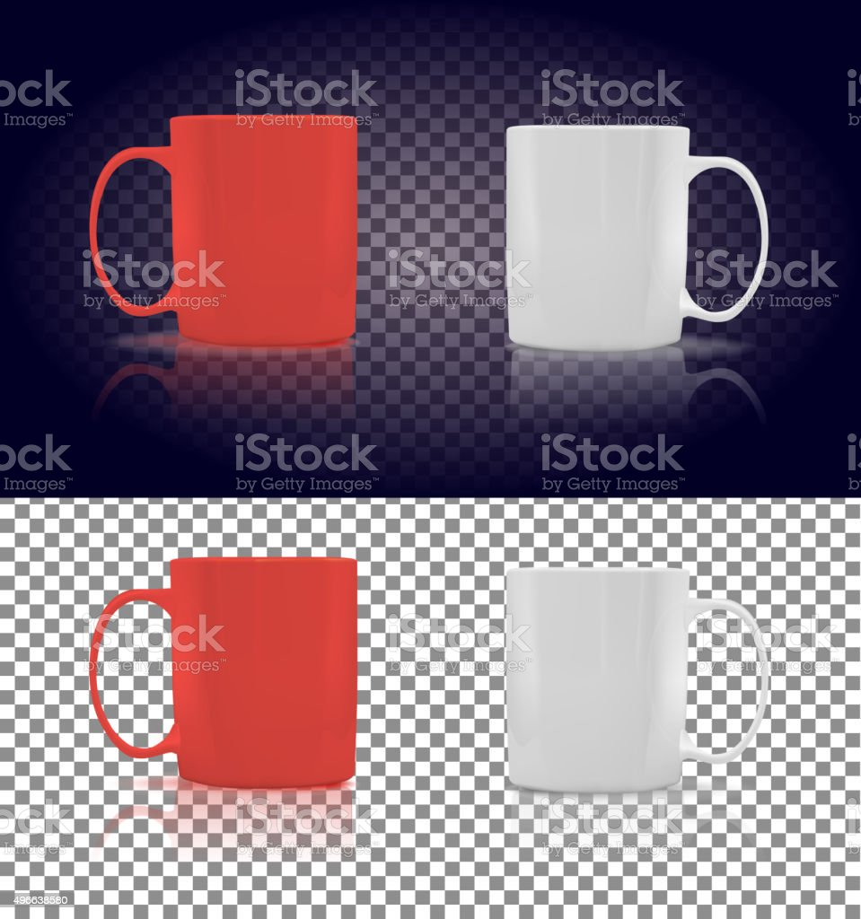 Set of Cup or Mug White and Red vector art illustration
