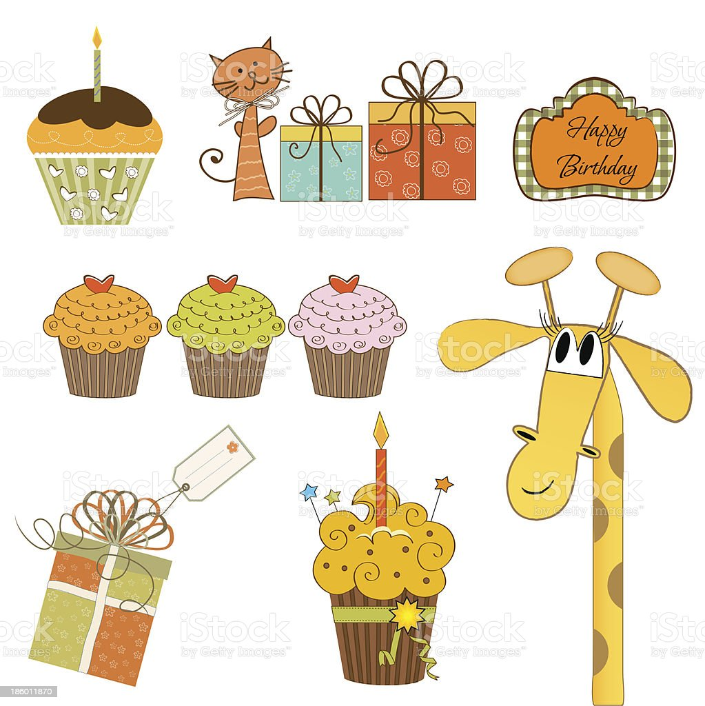 set of cupcake and other bithday items royalty-free stock vector art