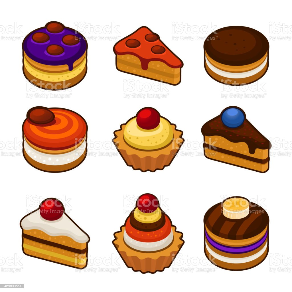 Set of cupcakes icons royalty-free stock vector art