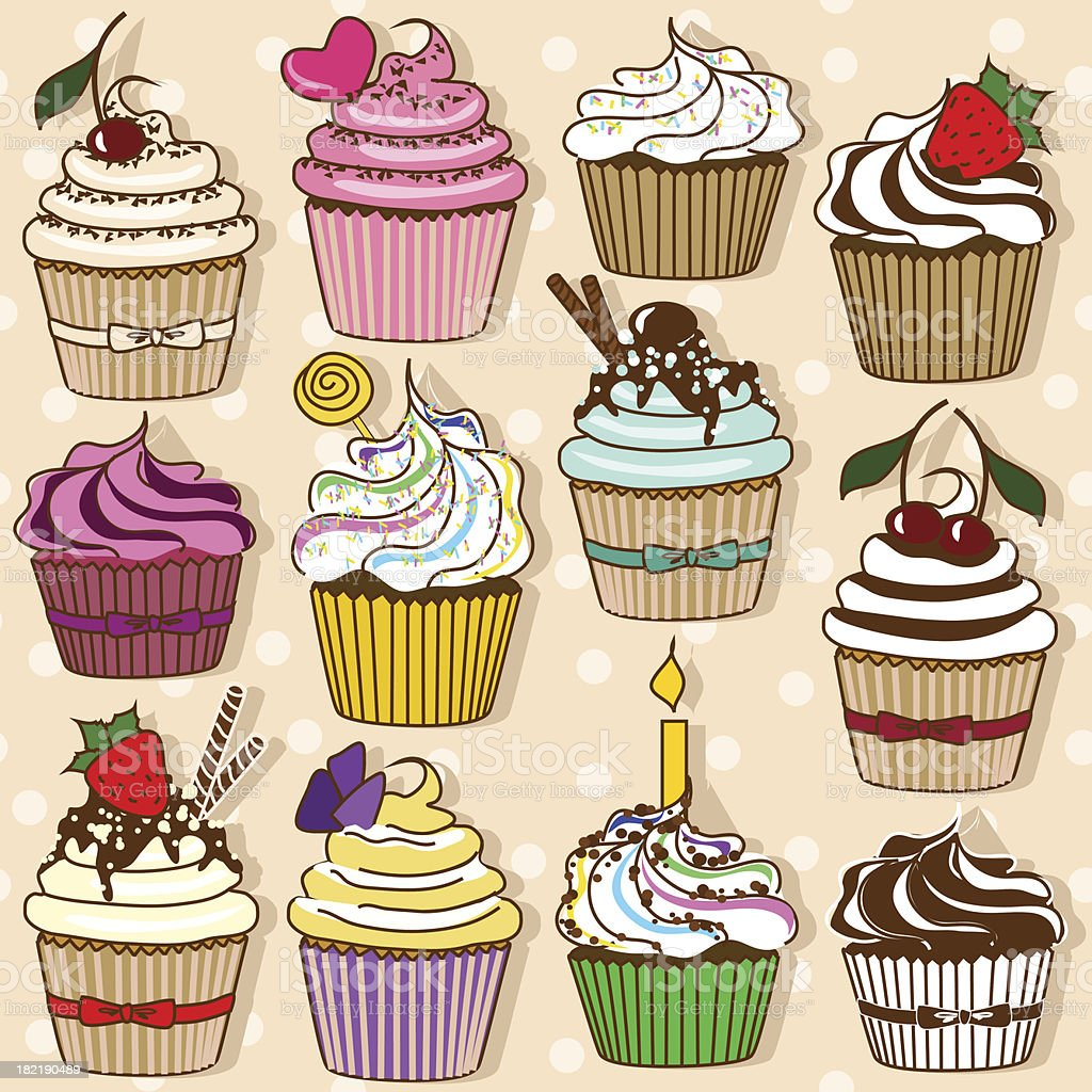 Set of cupcakes royalty-free stock vector art