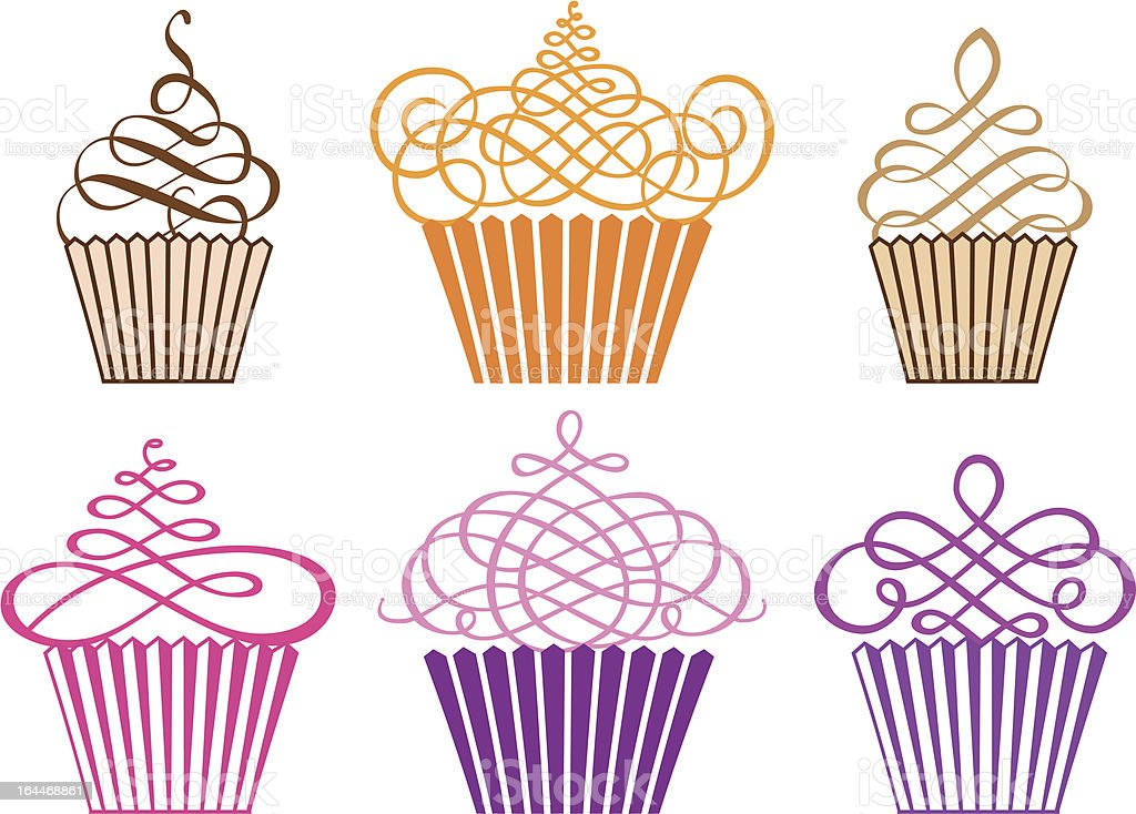 set of cupcakes, vector vector art illustration