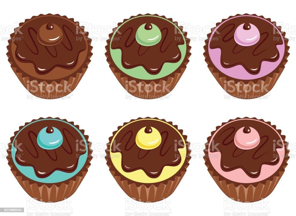 Set of cupcakes with chocolate glaze cream and fondant. vector art illustration