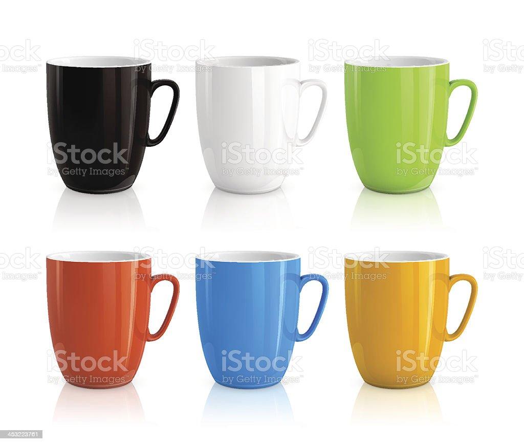 Set of cups vector art illustration