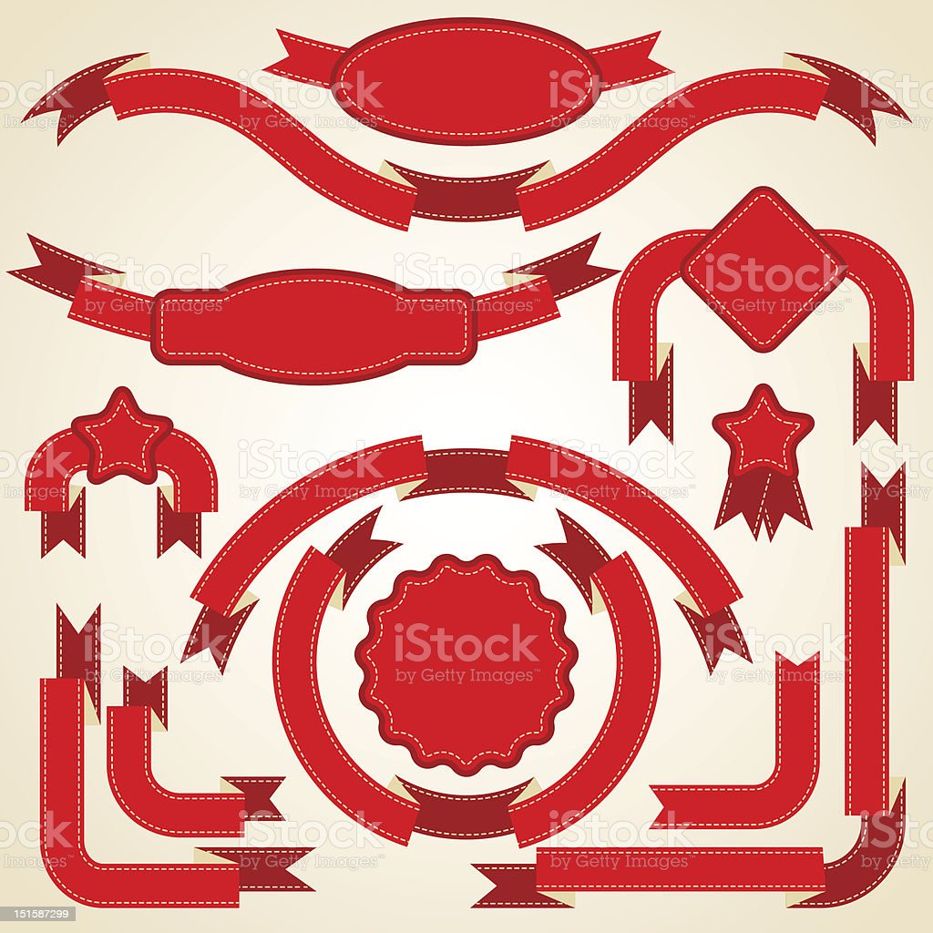 Set of curled red ribbons, vector illustration. royalty-free stock vector art