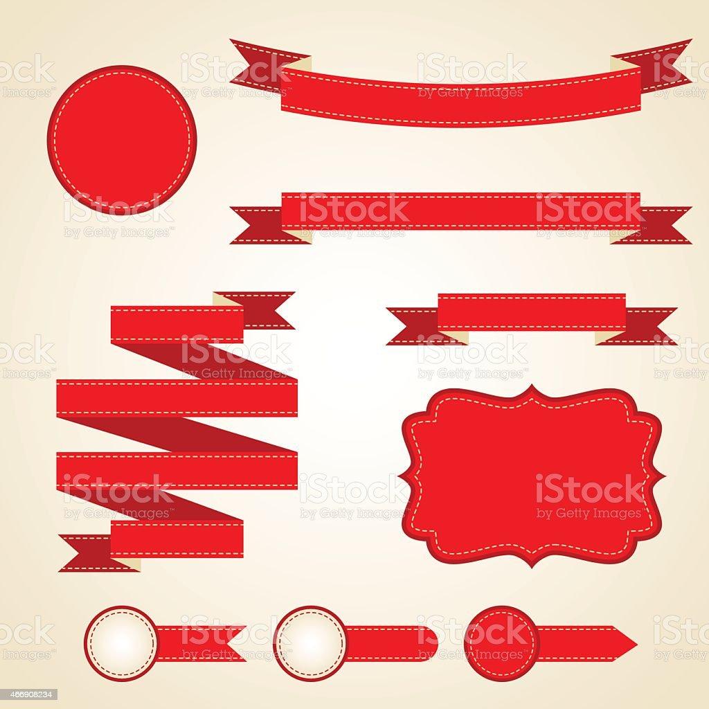 Set of curled red ribbons, vector illustration vector art illustration