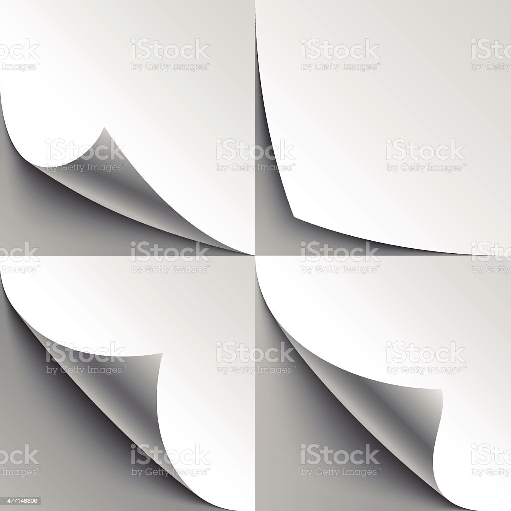 Set of curled white paper page corners with realistic shadows vector art illustration